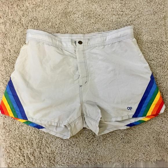 666695f5d944b OP Swim | Vintage 80s Rainbow Mens Trunks Sz L Rad | Poshmark